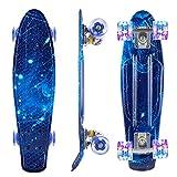 Caroma Skateboards for Teens Beginners, 22 Inch Complete Mini Cruiser Skateboard with LED Light Up Wheels for Kids Girls Boys