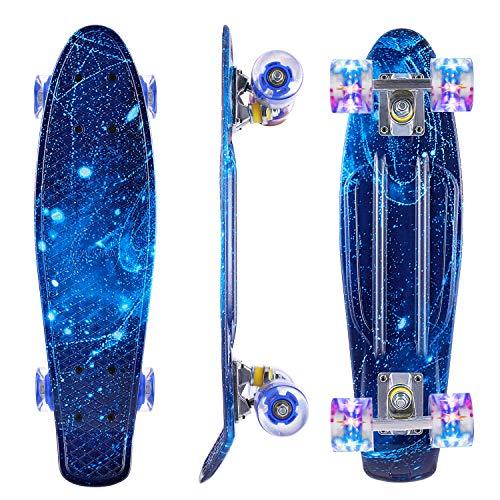 Caroma Skateboard Completo para Niños Niñas, 22 Pulgadas Retro Mini Cruiser Skateboard con Led Light Up Ruedas para Adulto Adolescente