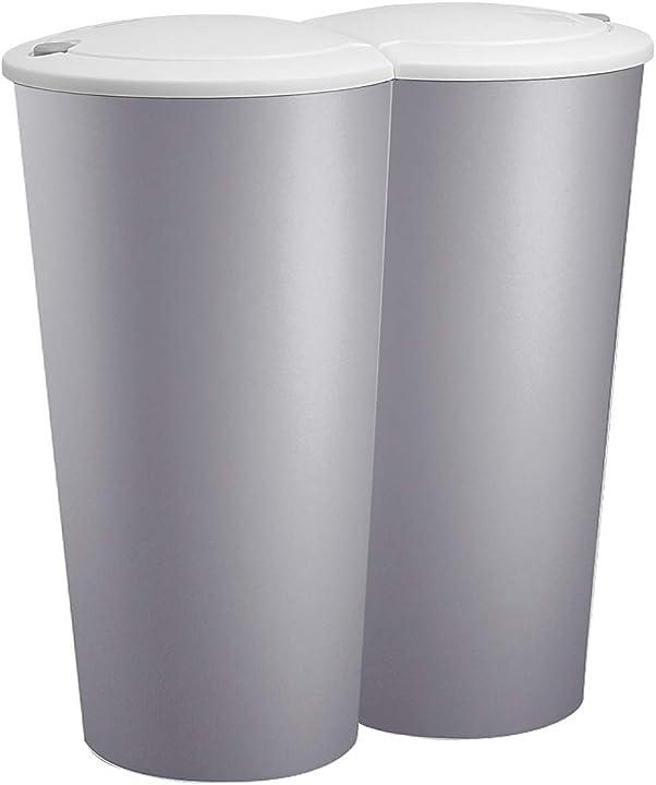 Pattumiera doppia 50l raccolta diferenziata 2 x 25l pulsante casa cucina rifiuti marrone deuba 193145