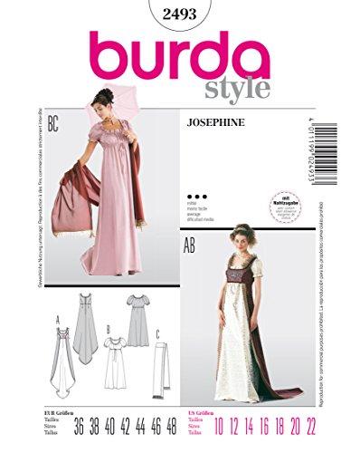 Burda 2493 Schnittmuster KostŸm Fasching Karneval Empire-Kleid (Damen, Gr, 36 - 48) Level 3 mittel