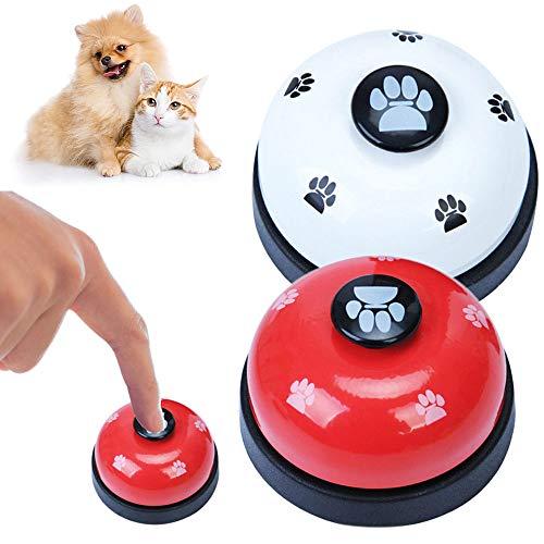 Gresunny 2 Stück trainingsglocken für Haustiere Hund Türklingel mit Button Haustier Glocken Töpfchen Tischglocke für Katzen Puppy Töpfchentraining Interaktion Spielzeug zum Kommunikations weiß, Rot