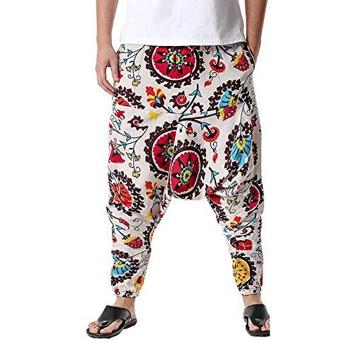 Pantalones de algodón y Lino Bloomers para Hombre, Sueltos, Estilo harén, Bombacho, Aladino, con Estampado Retro y Bolsillos (Blanco, XXL)