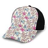 Gorra de béisbol estructurada, patrón infantil con personajes coloridos y felices kawaii con corazones rosados, estrellas y sombrero para papá, se adapta a hombres y mujeres, perfil bajo ajustable