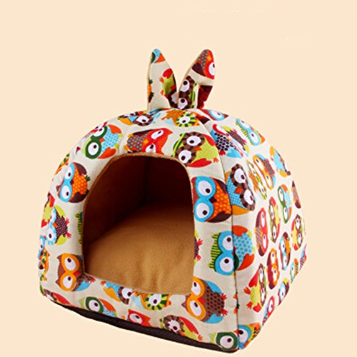 KAKA(TM Pets Cute Warm Soft Canvas Fold Bed Dogs Cats Sleeping House Owl Pattern Thick Mat M