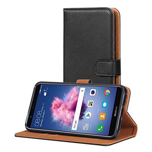 AICEK Hülle Kompatibel mit Huawei P Smart, Lederhülle für Huawei P Smart Schutzhülle PU Leder Klapphülle mit Kartenfach Ständer Magnet Funktion Schwarz (5,65 Zoll)