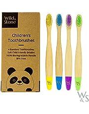 Cepillo de dientes de bambú orgánico para niños   Cuatro colores   Cerdas firmes de fibra de carbono   Mango 100% biodegradable   Cepillos de dientes veganos orgánicos   de Wild & Stone