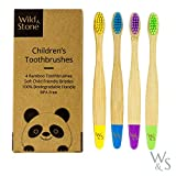 Cepillo de dientes de bambú orgánico para niños | Cuatro colores | Cerdas firmes de fibra de carbono | Mango 100% biodegradable | Cepillos de dientes veganos orgánicos | de Wild & Stone