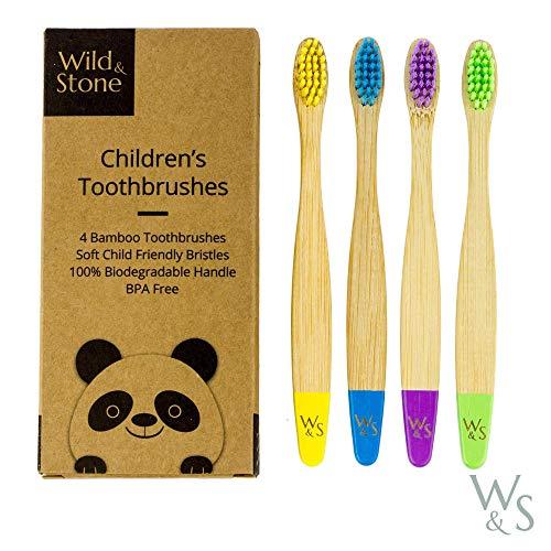 Wild & Stone | Bio-Bambus Kinder Zahnbürste | Vier Farben | Weiche Faserborsten | 100% biologisch abbaubarer Griff | Vegane umweltfreundliche Kinderzahnbürsten