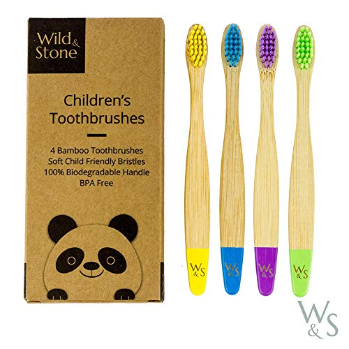 Cepillo de dientes de bambú orgánico para niños | Cuatro colores | Cerdas firmes de fibra de carbono | Mango 100{ec346942fb02a189d1b8ad8d742e808f1fcaeb7b6eb4d39ff360d4c5af9a7f3a} biodegradable | Cepillos de dientes veganos orgánicos | de Wild & Stone