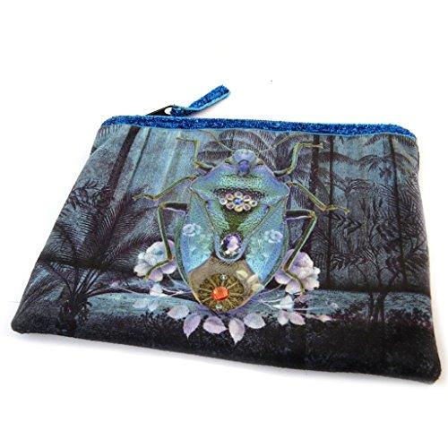 Les Trésors De Lily [N8547] - Trousse à Maquillage 'Scarabée Imaginaire' Bleu - 19x16 cm