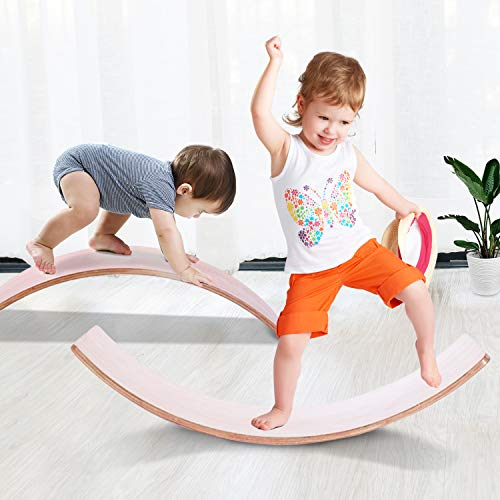 Wooden Balance Board, Wobble Board for Kids & Toddlers, Toy for Practicing The Sense of Balance
