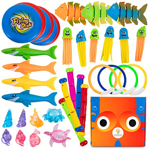 L Learning Toy Boxes Pool Diving Toys for Kids 38 PC Sinking Floating Diving Toys for Pool for Kids Encourage Underwater Swimming Lessons Aqua Pool Toys ASTM and CPC Certified