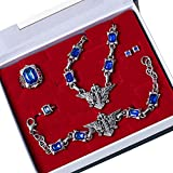 Ciel Sebastian Ring Necklace Earring Brooch Badge Punk Rivet Bracelet Black Butler Cosplay Accessories(Type2)