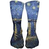 Hunter qiang Calcetines clásicos de noche estrellada sobre el Rhone Vincent Van Gogh Athletic Stockings de Rhone Vincent (50 cm)