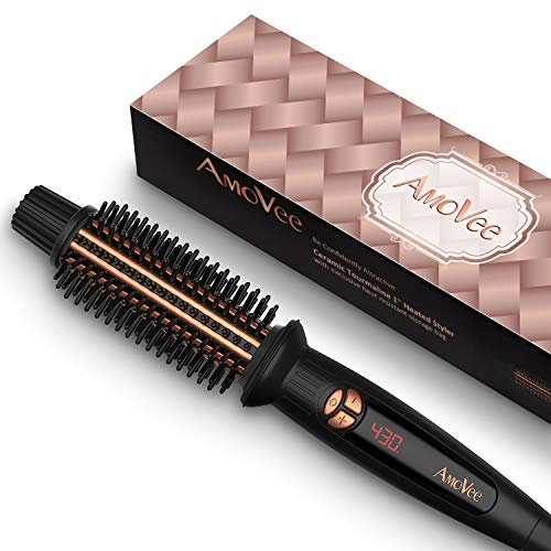 AMOVEE Curling Iron Brush, Ceramic Tourmaline Hair Curling Iron Ionic Hair Curling Hot Brush 1 Inch Barrel Heated Styler Brush