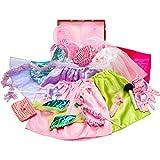 Girls Dress up Trunk Princess,Mermaid,Bride,Pop Star, Ballerina,Fairy Costume Set for Little Girls Toddler 3-6yrs