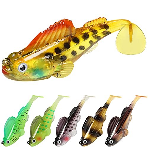 GOTOUR Fishing Lures for Bass, Pre-Rigged Weedless Soft Plastic Lures,...