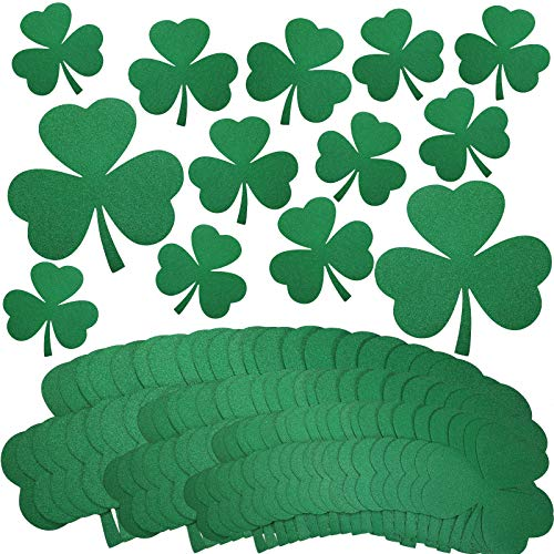36 Pieces St Patrick's Day Shamrock Cutouts Glitter Shamrock Assorted Cutouts Shamrock Hanging Ornaments for St Patrick's Day Decoration, 3 Sizes