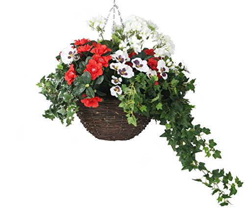 Closer to Nature (I-adempimento) HBKL21 Bianco Viola del pensiero / Rosso Azalea / Bianco Geranio / verde Vite e variegato edera Display in un Round Willow 14 pollici Hanging Basket artificiale Bedding Plug Impianti e Display Selezione
