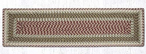 """Earth Rugs Tablerunner, 13x36"""", Olive/Burgundy/Gray"""