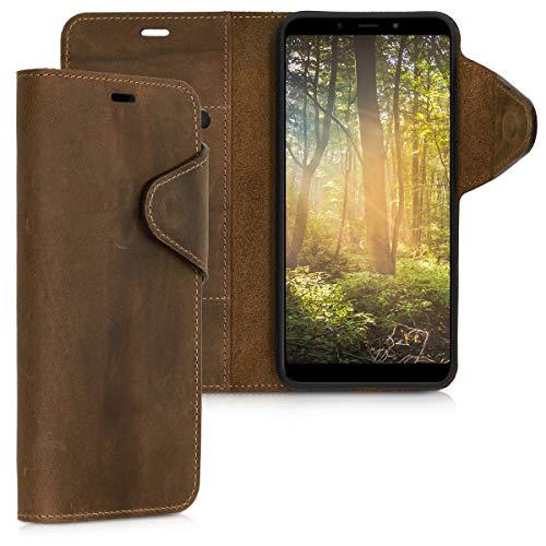kalibri Funda Compatible con Xiaomi Mi 6X / Mi A2 - Case con Tapa magnética de Cuero de Piel Real en marrón