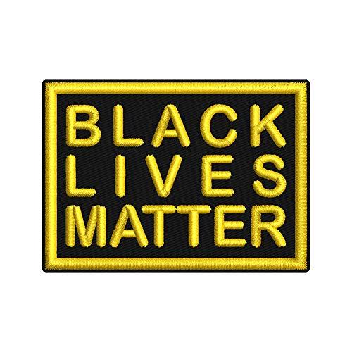 Wolfszeit Aufnäher -Black Lives Matter- ca. 7x5cm - rechteckig zum Aufnähen oder Aufbügeln (schwarz-gelb)