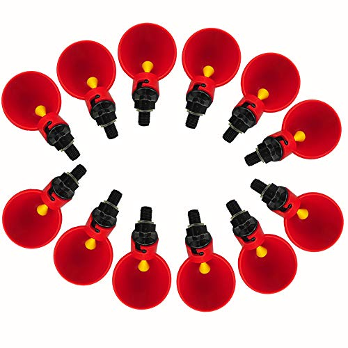 Lucky Farm Automatic Chicken Drinker Cups Poultry Drinking Bird Waterer Coop Fowl Waterer(Red (12 pcs))