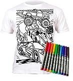 Splat Planet Camiseta Coches para Niños. con Impresión para Pintar y Colorear. Incluye 6 Colores Mágicos Lavables. Cumpleaños Infantil 7-8 Años.