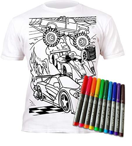Splat Planet Camiseta Coches para niños. con impresión para Pintar y Colorear. Incluye 10 Colores mágicos Lavables. Cumpleaños Infantil. (7-8 años)