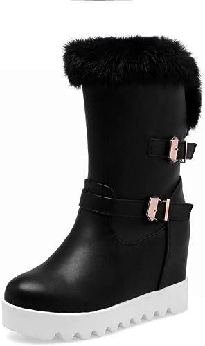 ZHRUI Stiefel para damen - Stiefel para la Nieve Calientes Antideslizantes Occidentales Stiefel de algodón con Aumento de Fondo Plano para damen Cabeza rotonda Stiefel Cortas Calientes   34-43