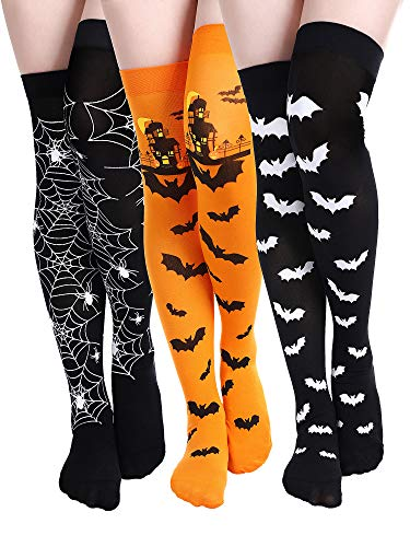Halloween Thigh High Long Stockings Over Knee Spider Socks Cosplay Pumpkin Bat Sock Festival Stockings, 3 Pairs