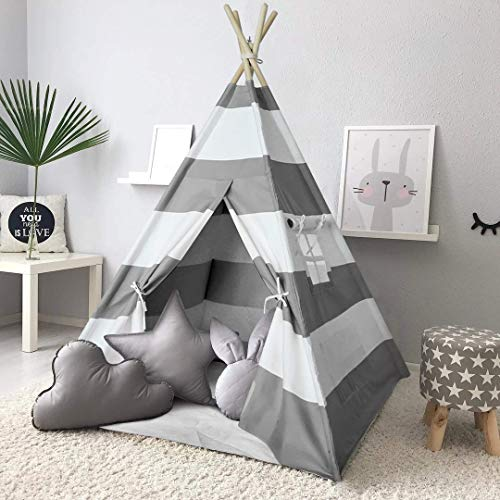 Ejoyous Kids Teepee Children Game Playhouse Tent, Boys and Girls Indian Wigwam Tipi Toddler Play Tent for Indoor and Outdoor with Portable Healthy and Skin-friendly Cotton Material and Waterproof Mat