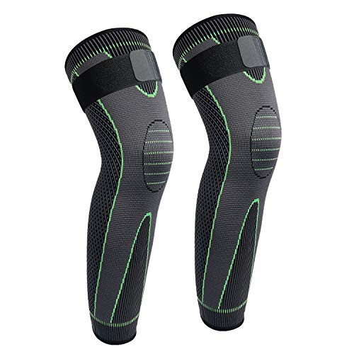 Full Leg Sleeves Long Compression Leg Sleeve Knee Sleeves with Belt, for Man Women Basketball, Arthritis Cycling Sport Football, Reduce Varicose Veins and Swelling of Legs(Green-Updated,2XL,Pair)