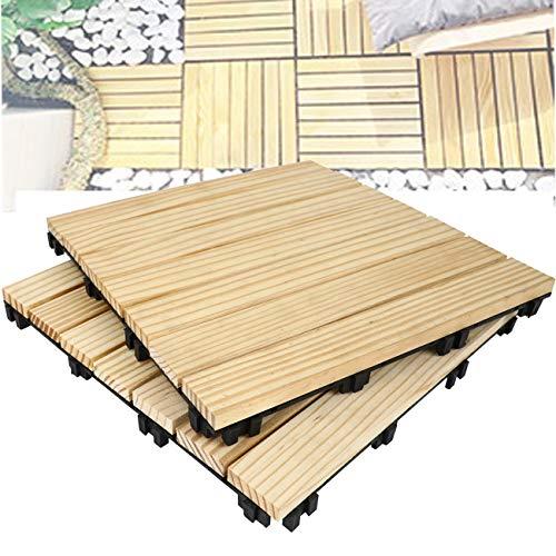 Triclicks Decking Tiles,baldosas de madera para terrazas, 11.2'× 11.2' × 0.9', patio, balcón, techo, juegos de terrazas para jardín, color madera (18 piezas)