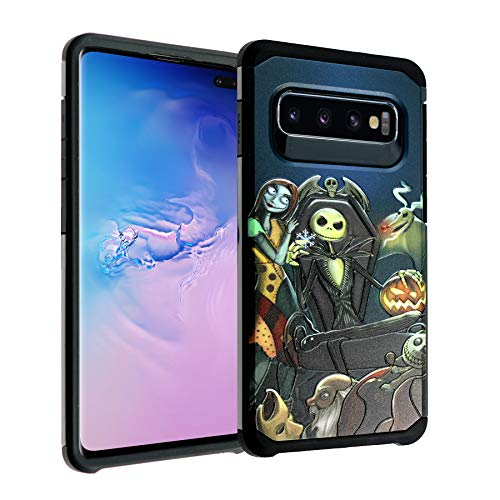 Galaxy S10 Case, IMAGITOUCH 2-Piece Style Armor Case with Flexible Shock Absorption Case Cover for Galaxy S10 Nightmare Before Christmas Hybrid