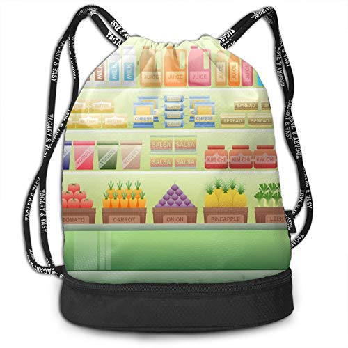 Mochila con cordón para supermercado, portátil, ocio, deporte, gimnasio, viajes, bolsa de hombro, 35 x 40 cm