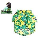 Meioro Pet Shirt Hawaiian Dog Clothes Flower Shirt Pet Spring and Summer New Dog Breathable Shirt Pug French Bulldog Corgi(Yellow-L)