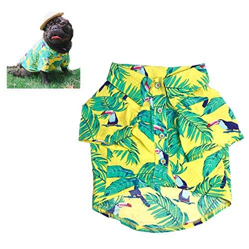 Meioro Ropa para mascotas Ropa para perros Cómoda camisa de perro Estilo hawaiano Estilo de vida costera Material de algodón Cachorro Bulldog francés Pug (Blue-M)