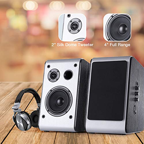 Powered Bluetooth Bookshelf Speakers Pair Big Speaker Stereo HiFi Desktop Audio Bass