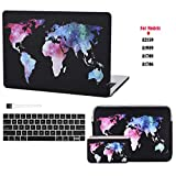 Case Star Laptop case for New MacBook Pro13 Inch New Models A2159 A1989 A1708 A1706+13 Inch Neoprene Laptop Sleeve+Electronics Accessories Pouch+Silicone Keyboard Cover+Brush(World Map 5pcs Set)