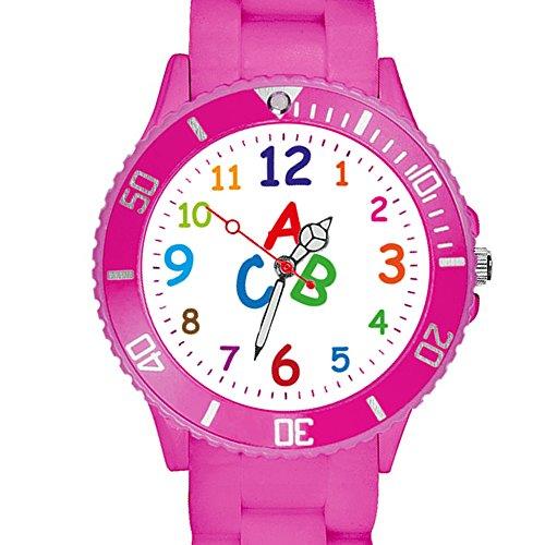 Taffstyle Kinder Armbanduhr Silikon Sportuhr Bunte Sport Uhr Kinderuhr Lernuhr Zahlen ABC Motiv Analog Pink