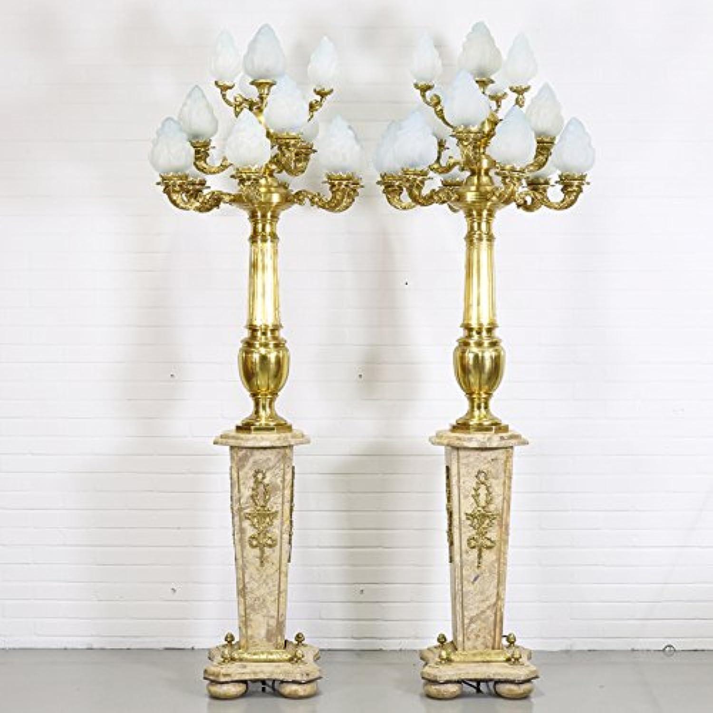 Casa Padrino Barock Stand Kronleuchter mit Marmor Säulen Set Mod2 Creme Gold - Edel & Prunkvoll B078C6LQZB | Perfekte Verarbeitung