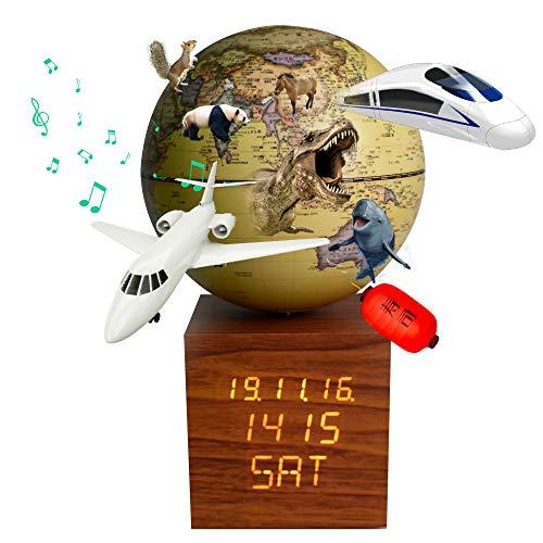 地球儀 子供 AR しゃべる地球儀 日本語 球径13cm 目覚まし時計付き 3Dで学べる 5WAY「小さな世界」 LEDライト付き 知育玩具 ベッドサイドランプ 行政タイプ 真珠フィルム防水 先生おすすめ 新入学のお祝いに プレゼント(yellow 時計-