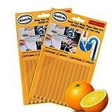 Sidith Drain Cleaner Sticks, Sink Deodorizer (24 Pack), Sink Freshener to Keep Odor Free As Seen On TV for Bathroom, Kitchen, Toilet, Shower drain (Orange)