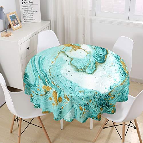 Himlaya Manteles Mesa Redonda, 3D Mármol Impresión Manteles Impermeable Mantelerias Antimanchas Mantel de Mesa para Salón Cocina Comedor Decoración (Mármol Verde,100cm)