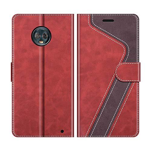 MOBESV Handyhülle für Motorola Moto G6 Plus Hülle Leder, Motorola Moto G6 Plus Klapphülle Handytasche Hülle für Motorola Moto G6 Plus Handy Hüllen, Rot