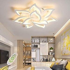 LED Dimmable Ceiling Light Modern Flower Shape Ceiling Lamp Fixture Living Room Bedroom Children's Room Flush Hanging Lamp Metal Acrylic Petal Ceiling Chandelier Lighting,10 Heads/ ø33.5″/88w