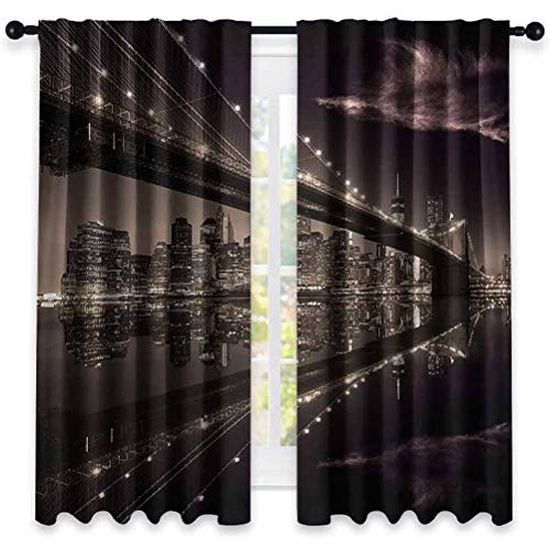 Jinguizi Landscape Soundproof Curtains Brooklyn Bridge Sunset NYC View Skyline Tourist Attraction Modern City Window Treatment for Hall & Guest Room