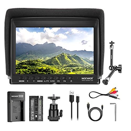 """Neewer Kit di Monitor da Campo F100 7"""" Schermo IPS 1280x800: Supporta Input 4K, con 2600mAh Batteria a Litio Ricaricabile, Caricabatterie a USB & 30cm Braccio Magico, per Fotocamere Reflex Videocamere"""
