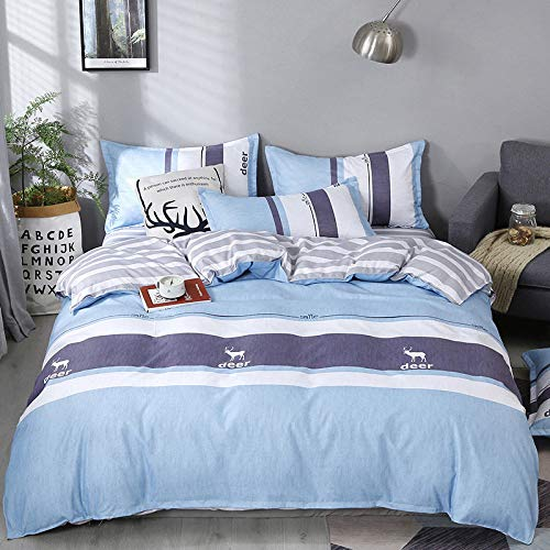 CYGJThree-piece or four-piece set of soft and comfortable Cotton flower beddingBlue fawn1.8m four-piece set